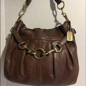 Coach brown leather hobo handbag